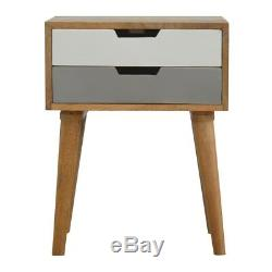Scandinavian Style Two Drawer Grey & White Bedside Table With Mid Century Legs