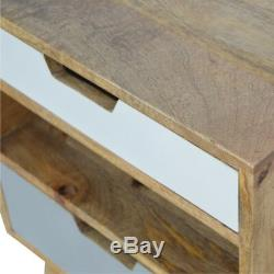 Scandinavian Style Two Drawer Hand Painted Grey Bedside Table With Shelf