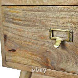 Scandinavian Two Drawer Bedside Table With Name Insert Gold Handles