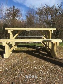 Shipley Wooden Bench Heavy Duty Outdoor Wooden Walk In Picnic Table