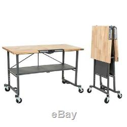 Smartfold Portable Workbench With Butcher Block Tool Heavy Duty Bench Table