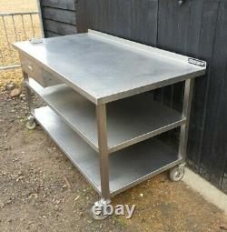 Stainless Steel Catering Kitchen Table 152 cm long CASTORS SHELVES HEAVY DUTY