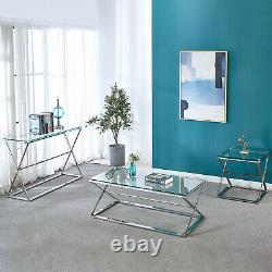 Stainless Steel Glass Top Hallway Console Side Table Living Room Coffee Table