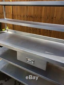 Stainless Steel Heavy Duty Table Mobile Wall Bench With 3 Tier Ambient Gantry