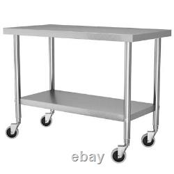 Stainless Steel Kitchen Catering Table Heavy Duty Work Bench Food Prep Table NEW
