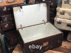 Superb vintage leather & canvas steamer cabin trunk ideal coffee table BICK BRO
