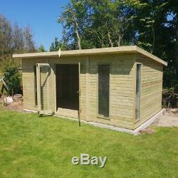 Timber Summerhouse Contemporary Style T&G Heavy Duty Tanalised shed garden room
