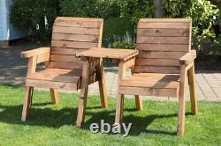 UK-Gardens Heavy Duty Love Seat Wooden 2 Seater Garden Bench Square Table