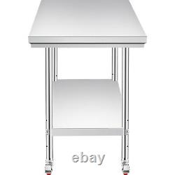 VEVOR 76X60CM Stainless Steel Work Table 4 Casters Utility Station WithBBQ Kitchen