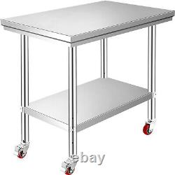 VEVOR Stainless Steel Work Table 76X60CM Food Prep Utility Work Station Wheels