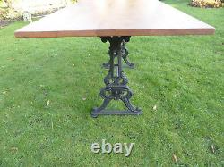 Victorian Cast Iron Table Base with Solid Mahogany Top. Very Heavy Duty