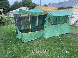 Vintage Camel Mesa Family Cabin Tent 9 X 12 Screen Porch Complete Large Windows