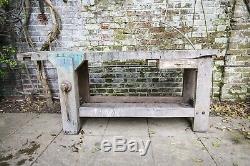 Vintage French Industrial Heavy Duty Oak Workbench