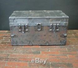 Vintage Heavy Duty Industrial Steel Polished Boot Trunk Coffee Table