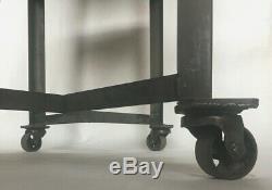 Vintage INDUSTRIAL Cart Garage Steampunk Bar Tea Table Heavy Duty Steel Antique