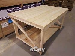 Wooden Garage Workbench Wide Super Heavy Duty Industrial Table 4FT Depth