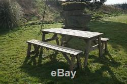 Wooden Picnic Table and Bench Set Outdoor Garden Furniture, Victoria Heavy Duty