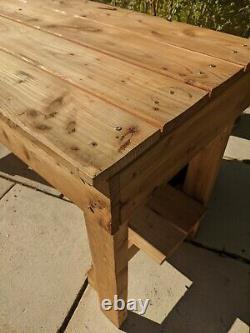 Wooden Work bench 5ft Garage Heavy Duty DIY table workshop bench with shelf