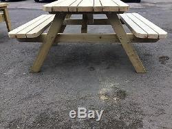 Wooden picnic table 4 ft, Tri topped, Heavy duty, tanalised