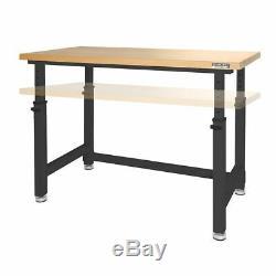Work Bench Table Heavy Duty Wood Top Black Adjustable Height Garage Workshop