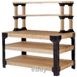 Work Bench Table Kit Garage Heavy Duty Shelves Wooden Black NEW