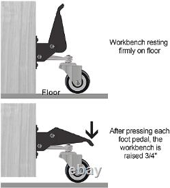 Workbench Caster Kit Heavy Duty Retractable Urethane Table Desk Wheel Casters 4x