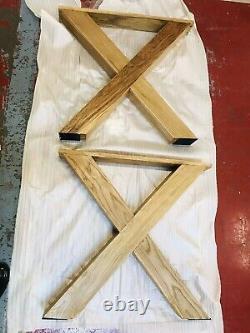 X Shape Heavy Duty Oak Wooden Legs 71 Cm High Table Legs