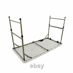 YJAA 4ft Catering Camping Heavy Duty Folding Table Picnic BBQ Height Adjustable