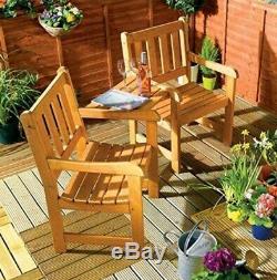 174cm Long Jack & Jill Banc De Jardin En Bois Chaise Table Équipé Décor Parasol Trou