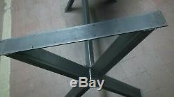 2 Industriel Traverse De Table En Métal Lourd, Croisé, 74cm De Haut, 78cm De Large