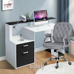 2pcs Ordinateur Bureau -bureau Chaise Ensemble Coin Pc Table D'ordinateur Portable Avec Tiroir 5 Étagères