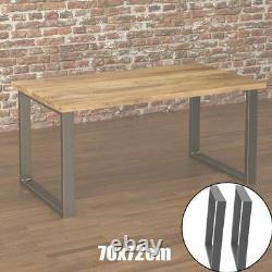 2x Pieds De Table En Acier Industriel Salle À Manger/débarquement/bureau/débarquement Lourd 70x72cm