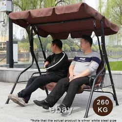 3 Seater Garden Swing Chair Extérieur Hamock Bench Lounger Patio Canopy Heavyduty