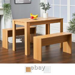 3pcs Table À Manger Et 2 Chaises Banc Ensemble Table De Petit-déjeuner Maison Meubles De Cuisine