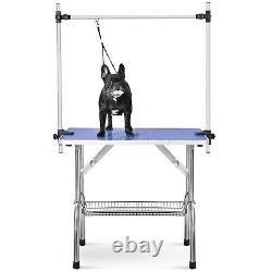 44'' Btm Pet Dog Grooming Table De Bain Antidérapante Acier Bras Réglable Hauteur 150kg