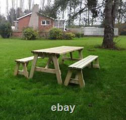 4ft 5ft 6f 7ft 8ft Picnic Table And Bench Set Wooden Outdoor With Backrest
