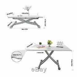 5 En 1 Elevated Pliable Rectangulaire Table À Manger / Bureau / Table Basse En Blanc