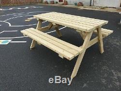 5 Ft Heavy Duty Table De Pique-nique En Bois / Pub Banc / Jardin Banc De Pique-nique