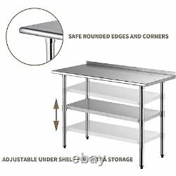 5ft Kitchen Catering Table, Heavy Duty Table Food Prep Workbench Acier Inoxydable