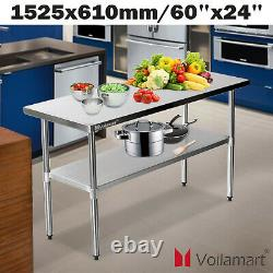 5x2ft Voilamart 430 Stainless Steel Duty Heavy Work Bench Kitchen Catering Table