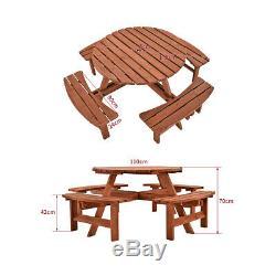 6, 8 Seater Heavy Duty Pub Ronde En Bois Pique-nique Banc Table D'extérieur Patio Jardin