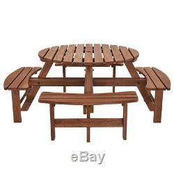6/8 Seater Heavy Duty Ronde En Bois Table Pique-nique Banc Pub Terrasse Meubles De Jardin