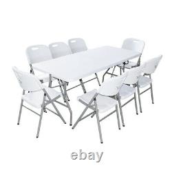 6 Ft Folding Camping Table Easy Carry Catering Heavy Duty Plastic Garden Party