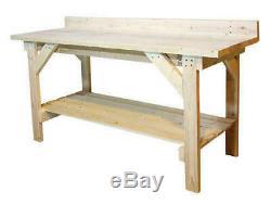 6' Heavy Duty Bois Naturel Garage Workbench 2 Shelf Sous-sol Rangement Table De Travail