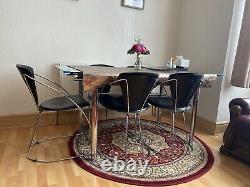 6 Seater Grande Table À Manger Famille Verre/chrome Pour Grande Famille