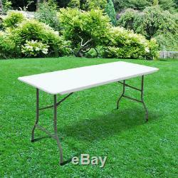 6ft Garden Party Portable Camping En Plastique Restauration Heavy Duty Table Pliante 1.8m