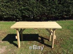 6ft Table De Jardin Extra Robuste Redwood Traité Sous Pression