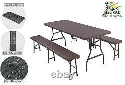 6ft Table Pliante Trestle Bench Camping Picnic Bbq Party Garden Heavy Duty Set