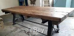Anciennes Industriel Robuste Table À Manger Rustique