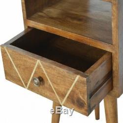 Art Déco Petit Raffinez Nuit / Side Table D'or Avec Inlay Détail Dark Wood